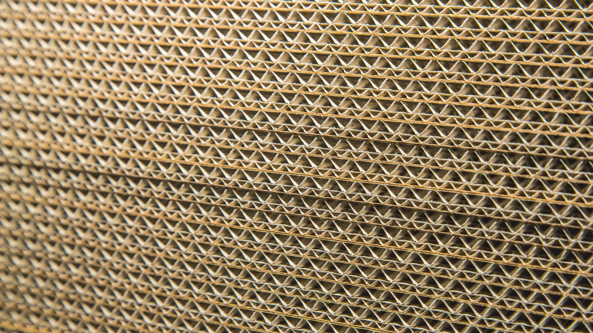 Corrugated board close up display
